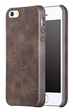 X-Level Vintage iPhone SE / 5 / 5S Kahverengi Deri Rubber Kılıf
