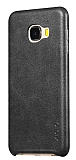 X-Level Vintage Samsung Galaxy C7 Siyah Gerçek Deri Rubber Kılıf