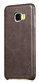 X-Level Vintage Samsung Galaxy C7 Kahverengi Deri Rubber Kılıf