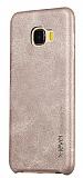 X-Level Vintage Samsung Galaxy C7 Deri Görünümlü Krem Rubber Kılıf