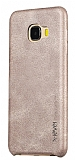 X-Level Vintage Samsung Galaxy C7 Krem Deri Rubber Kılıf