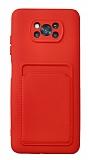 Xiaomi Poco X3 / X3 Pro Kartlıklı Kamera Korumalı Kırmızı Kılıf