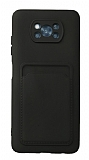 Xiaomi Poco X3 / X3 Pro Kartlıklı Kamera Korumalı Siyah Kılıf