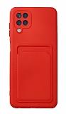 Samsung Galaxy A12 / M21 Kartlıklı Kamera Korumalı Kırmızı Kılıf