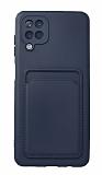 Samsung Galaxy A12 / M21 Kartlıklı Kamera Korumalı Lacivert Kılıf