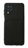 Samsung Galaxy A12 / M21 Kartlıklı Kamera Korumalı Siyah Kılıf