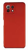 Xiaomi Mi 11 Lite Kamera Korumalı Mat Kırmızı Silikon Kılıf