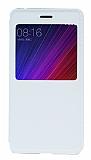 Xiaomi Mi 5s Pencereli İnce Kapaklı Beyaz Kılıf