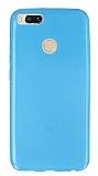 Xiaomi Mi 5X Ultra İnce Şeffaf Mavi Silikon Kılıf