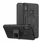Xiaomi Mi 8 Süper Koruma Standlı Siyah Kılıf