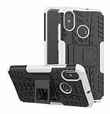 Xiaomi Mi 8 Süper Koruma Standlı Beyaz Kılıf