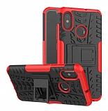 Xiaomi Mi 8 Süper Koruma Standlı Kırmızı Kılıf