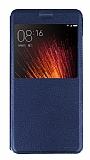Xiaomi Mi 5s Plus Pencereli İnce Kapaklı Lacivert Kılıf
