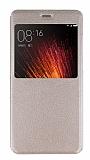 Xiaomi Mi 5s Plus Pencereli İnce Kapaklı Gold Kılıf