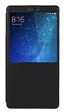 Xiaomi Mi Max 2 Pencereli İnce Kapaklı Siyah Kılıf