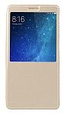 Xiaomi Mi Max 2 Pencereli İnce Kapaklı Gold Kılıf