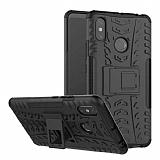 Xiaomi Mi Max 3 Süper Koruma Standlı Siyah Kılıf