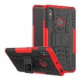 Xiaomi Mi Max 3 Süper Koruma Standlı Kırmızı Kılıf