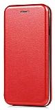 Xiaomi Mi Note 3 Curve Manyetik Kapaklı Kırmızı Deri Kılıf