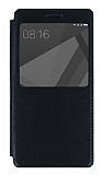 Xiaomi Redmi 4X Pencereli İnce Kapaklı Siyah Kılıf