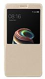 Xiaomi Redmi 5A Pencereli İnce Yan Kapaklı Gold Kılıf