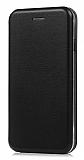 Xiaomi Redmi 7 Curve Manyetik Kapaklı Siyah Deri Kılıf