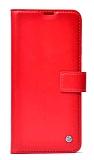 Kar Deluxe Xiaomi Redmi Note 10 Pro Cüzdanlı Yan Kapaklı Kırmızı Deri Kılıf