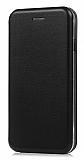 Xiaomi Redmi Note 4 / Redmi Note 4X Curve Manyetik Kapaklı Siyah Deri Kılıf