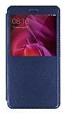 Xiaomi Redmi Note 4 / Redmi Note 4X Pencereli İnce Kapaklı Lacivert Kılıf