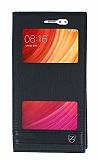 Xiaomi Redmi Note 5A / Note 5A Prime Gizli Mıknatıslı Pencereli Siyah Deri Kılıf