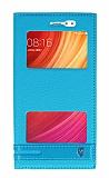 Xiaomi Redmi Note 5A / Note 5A Prime Gizli Mıknatıslı Pencereli Mavi Deri Kılıf