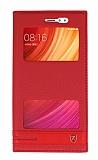 Xiaomi Redmi Note 5A / Note 5A Prime Gizli Mıknatıslı Pencereli Kırmızı Deri Kılıf