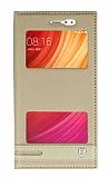 Xiaomi Redmi Note 5A / Note 5A Prime Gizli Mıknatıslı Pencereli Gold Deri Kılıf