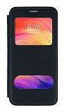 Xiaomi Redmi Note 7 Pro Çift Pencereli Kapaklı Siyah Kılıf