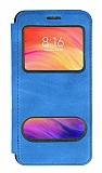 Xiaomi Redmi Note 7 Pro Çift Pencereli Kapaklı Mavi Kılıf