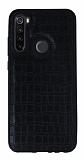 Xiaomi Redmi Note 8T Silikon Kenarlı Siyah Deri Kılıf