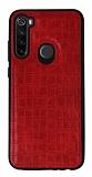 Xiaomi Redmi Note 8T Silikon Kenarlı Kırmızı Deri Kılıf