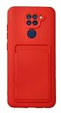 Xiaomi Redmi Note 9 Kartlıklı Kamera Korumalı Kırmızı Kılıf