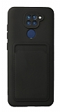 Xiaomi Redmi Note 9 Kartlıklı Kamera Korumalı Siyah Kılıf
