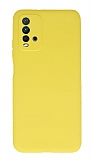 Xiaomi Redmi Note 9 4G Kamera Korumalı Sarı Silikon Kılıf