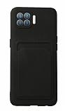Oppo Reno4 Lite Kartlıklı Kamera Korumalı Siyah Kılıf