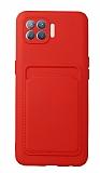 Oppo Reno4 Lite Kartlıklı Kamera Korumalı Kırmızı Kılıf