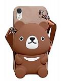 iPhone XR Cüzdanlı Boyun Askılı Kahverengi Ayı Kılıf