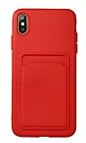 iPhone XS Max Kartlıklı Kamera Korumalı Kırmızı Kılıf