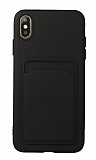 iPhone XS Max Kartlıklı Kamera Korumalı Siyah Kılıf