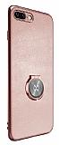 Xundd Vette Series iPhone 7 Plus / 8 Plus Silikon Kenarlı Rose Gold Deri Kılıf
