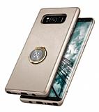 Xundd Vette Series Samsung Galaxy S8 Plus Silikon Kenarlı Gold Deri Kılıf