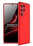 Zore GKK Ays Samsung Galaxy S21 Ultra 360 Derece Koruma Kırmızı Rubber Kılıf