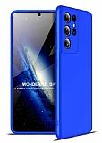 Zore GKK Ays Samsung Galaxy S21 Ultra 360 Derece Koruma Mavi Rubber Kılıf