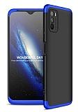Zore GKK Ays Xiaomi Poco M3 360 Derece Koruma Siyah-Mavi Rubber Kılıf